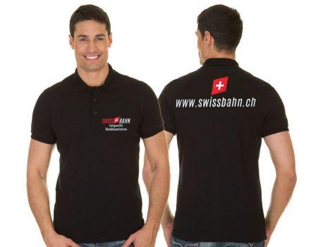 Swissbahn 001-L Poloshirt - Kurzarm schwarz - gestickt 100% Bwaumwolle