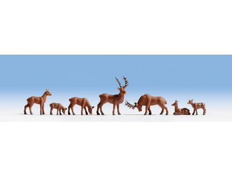 NOCH 15730 Hirsche handbemalt H0 im Set mit 7 Stück