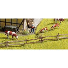 NOCH 13010 Rundholzzaun Holz, handbemalt H0