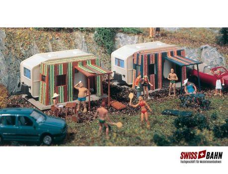 Vollmer 45145 Campingwagen Set mit 2 Stück- H0