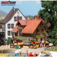 Busch 1512 Hofladen auf dem Land - Echtholz Bausatz H0