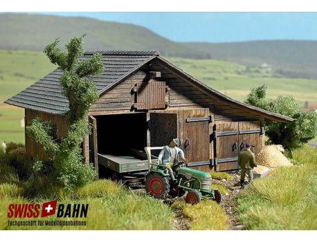 Busch 1508 Holzscheune Echtholz Bausatz - H0
