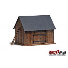 Busch 1500 Feldschuppen Echtholz Bausatz - H0