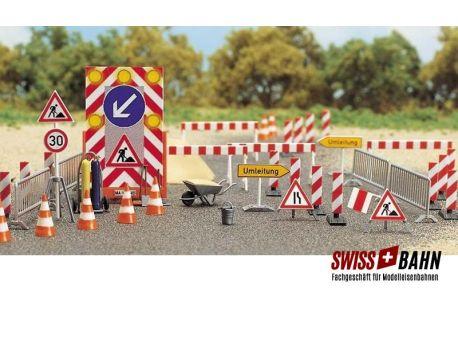 Busch 6048 Die Baustelle - Viel Zubehör und Schilder in H0