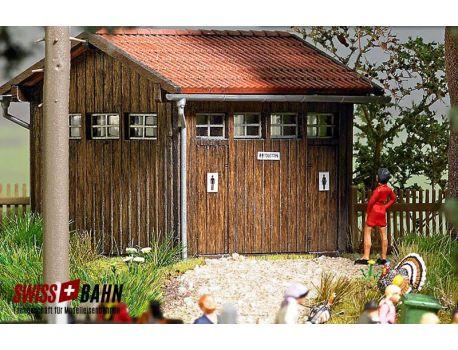 Busch 1586 Toilettenhaus - Echtholz Bausatz H0