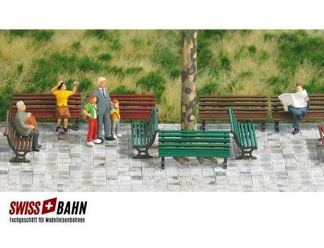 Busch 1149 Parkbank- Set in verschiedenen Farben H0