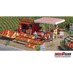 Busch 1073 Erdbeer Verkaufsstand- Verkaufsbude H0