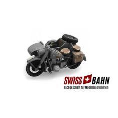 SWIBA 387.44-GR - Wehrmacht BMW R75 + Beiwagen Grau - Fertigmodell H0