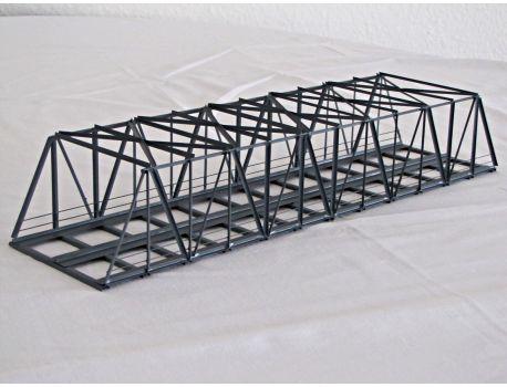 HACK K63S-2 Kastenbrücke 63 cm schräg, 2- gleisig aus Ganzmetall.
