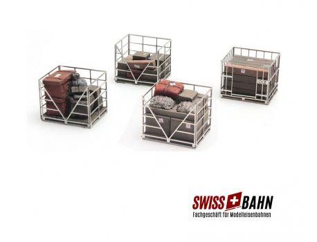 SWIBA 387.222 Drahtpaletten - Käfige m. Inhalt Fertigmodell H0