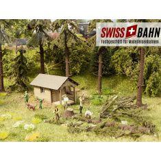 NOCH 12046 Waldarbeiten in der Schweiz - Figuren und Lasercut Hütte H0