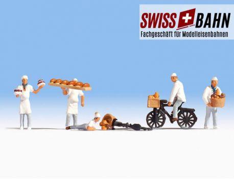 NOCH 15053 Bäcker und Gesellen mit Fahrrad - H0