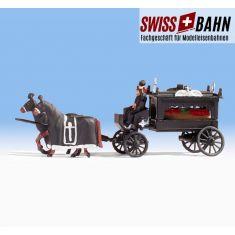 NOCH 16714 Leichenwagen mit 2 Pferden und Sarg - H0