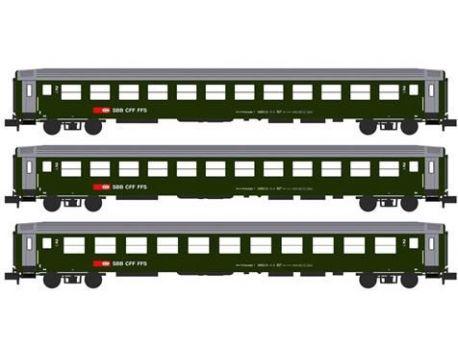 KATO 23012 SBB 3-tlg. RIC 2.Klasse Wagen neues Logo