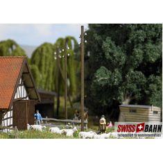 Busch 1569  Fünf Freileitungsmasten aus Echtholz H0