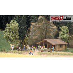 Busch 1035 Moderne Blockhütte aus hellem »Kiefernholz« H0