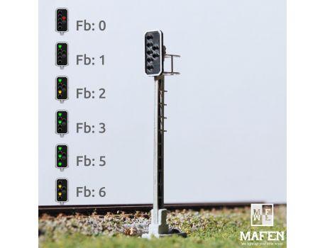 MAFEN 413609 - SBB - Hauptsignal mit 6 LEDs (Grün/Gelb/Grün/Gelb/Grün + Rot/Notrot)