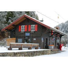 Busch 1644 SBB Bahnhof Trin Bündnerland, Bausatz Holz H0