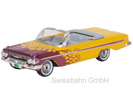 Oxford 87CI61004 Chevrolet Impala Convertible, gelb/metallic-violett Hot Rod 1: