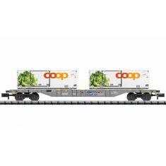 """Minitrix 15469 SBB Containertragwagen """"coop®"""" Spur N"""