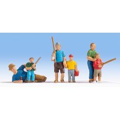 NOCH 15893 6 Angler, Väter mit ihren Kindern - H0