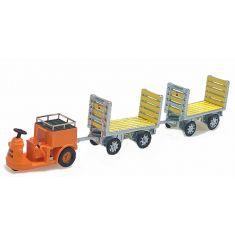 ACE 008703 SBB NEFAG Schlepper 3-Rad mit 2 Trolleys orange, H0