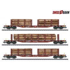 TRIX 24146 Rungenwagen-Set Holztransport , Echtholz