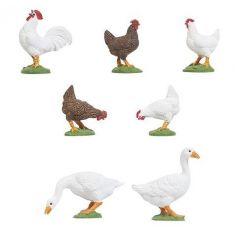 POLA 331896 -  5 Hühner und 2 Gänse handbemalt.